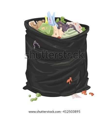 Filthy Open Litter Bin Bag. Vector Illustration Icon Of An ...