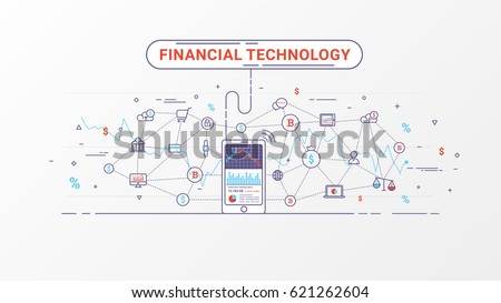 Fin-tech and block chain technology. Financial technology and Business investment info graphic. Trading index on mobile phone. Vector illustration. Flat line design.