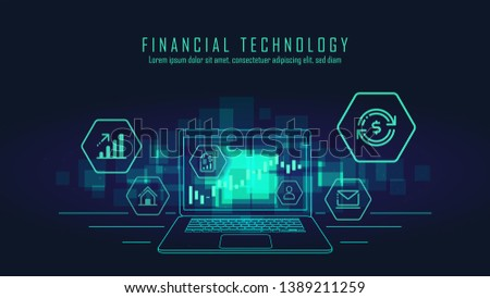 Fin-tech and block chain technology graphic concept. Vector illustration.