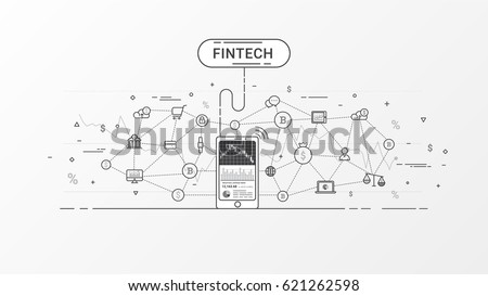 Fin-tech (Financial Technology) and block-chain technology. Flat line financial technology vector design concept. Vector illustration in gray color tones.