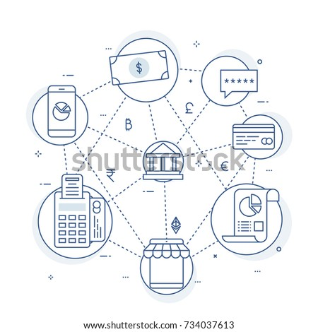 Fin-tech (financial technology) background. Lineart illustration.
