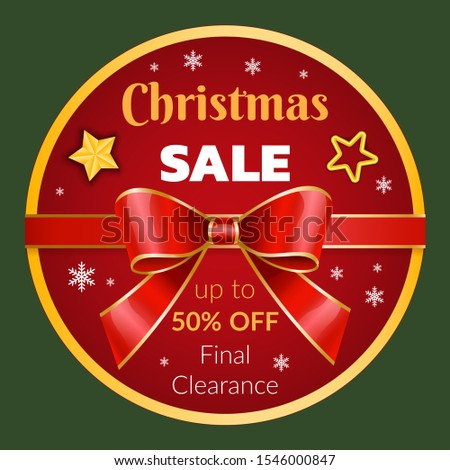 Final clearance on christmas promotional banner with ribbon bow and stars. Announcement of sale on xmas. Proposal from shop. 50 percent off price reduction on winter holidays shopping season, vector