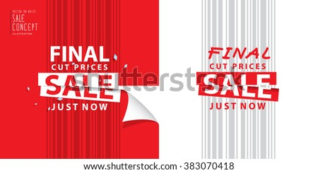 Final cut prices heading design for banner or poster. Sale and discounts. Vector illustration
