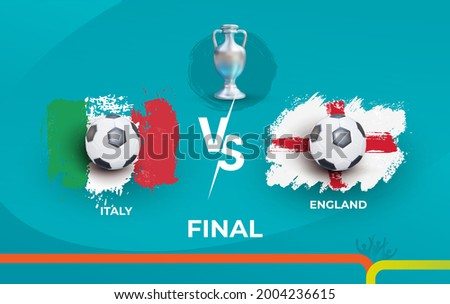 Final of the football championship Italy national team and national England team. England vs Italy. Finals football 2020 matches. Vector illustration label isolated on blue background.