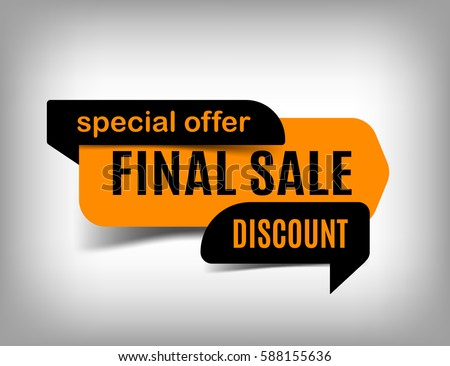 Final sale banner, discount tag, special offer. Website sticker, orange web page design. Vector, eps10