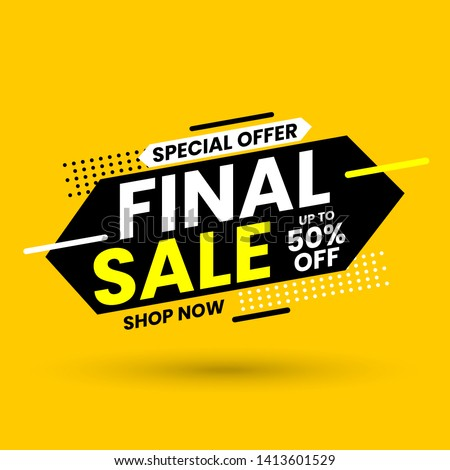 Final sale banner, special offer up to 50% off. Vector illustration.
