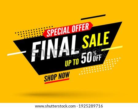 Final sale banner, special offer up to 50% off. Vector illustration.