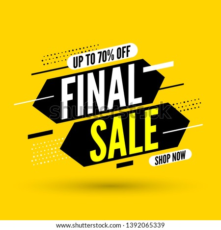 Final sale banner, up to 70% off. Vector illustration.