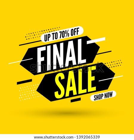 Final sale banner, up to 70% off. Vector illustration.