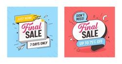 Final Sale Discount Offer Banner Set. Mega Discount Ribbon Poster Layout. Marketing Promotion Special Hot Element Kit. Best Deal Horizontal Sign Tab Message Design Flat Vector Illustration