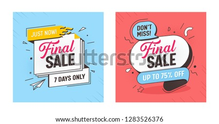 Final Sale Discount Offer Banner Set. Mega Discount Ribbon Poster Layout. Marketing Promotion Special Hot Element Kit. Best Deal Horizontal Sign Tab Message Design Flat Vector Illustration