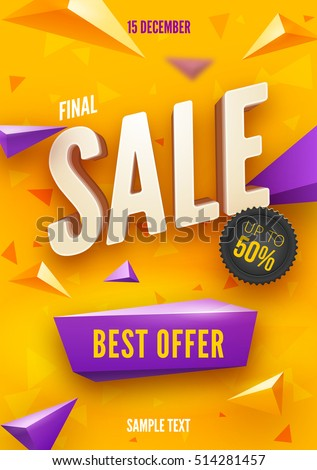 Final sale poster or flyer design. 3D word Sale on colorful background. Vector illustration