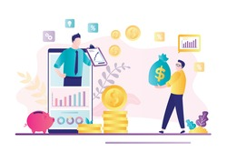 Finance advisor on smartphone screen. Businessman with money capital. Invest ideas, financial advice and business consulting, analytics. Bank mobile app. Growth profit and savings. Vector illustration