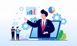 Finance analyst, analytics, financial advisor landing page website illustration flat vector template