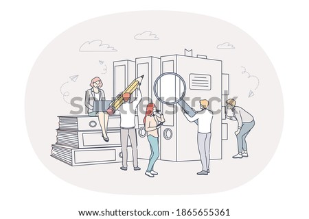 Finance, analytics, teamwork concept. People business partners workers cartoon characters analysing financial data and marketing information statistics together in office in team illustration