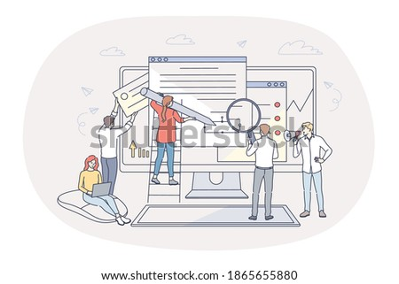 Finance, analytics, teamwork concept. People business partners workers cartoon characters analysing financial data and marketing information statistics, making report together in office illustration