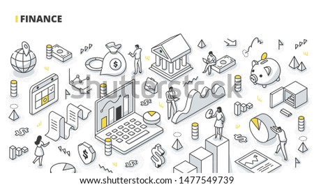 Finance and accounting isometric concept. Business people working together and developing successful financial strategy for business. Financial data analysis. Return of investments & money growth