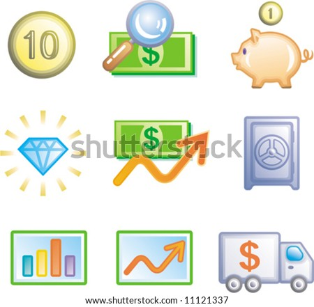 Finance and banking Icon Set (Vector)