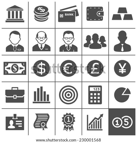 Finance and business icons. Vector illustration. Simplus series