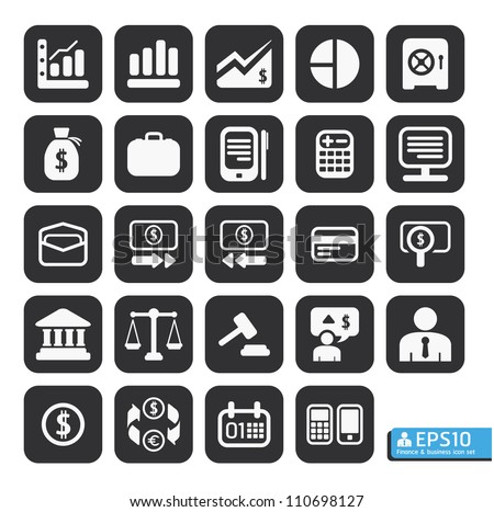 Finance and business vector icon set in black color button frame. - stock vector