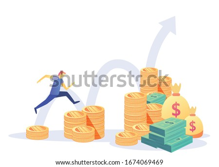 Finance and Growth Concept .Bank safe,bank employees, Investment in innovation, marketing, analysis, security of deposits dollars in a deposit box . Investing money on an account. Vector illustration Foto stock ©