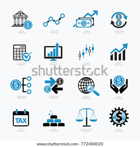 Finance and money icon set,vector