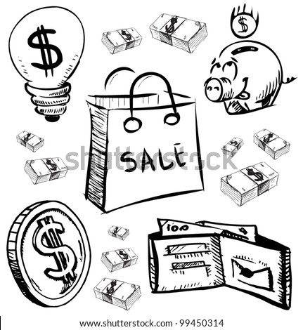 Finance and money icons set. Hand drawing sketch vector illustration