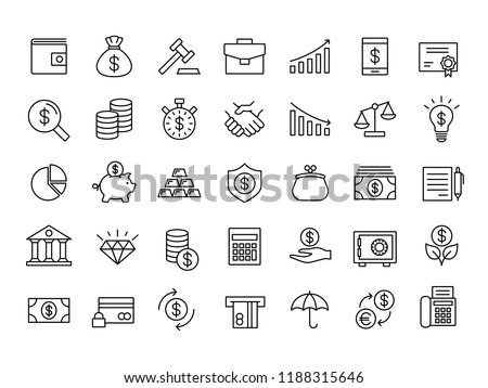 finance and money outline line black icons set