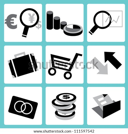 finance and shopping icon set