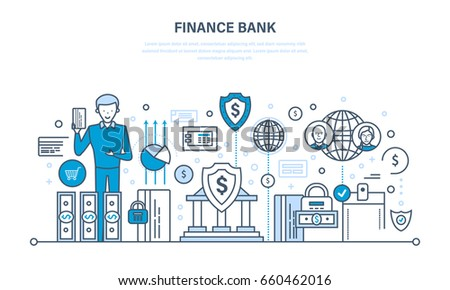 Finance bank, online banking, protection, guarantee payment security, finance, cash deposits, purchases, money transfers. Illustration thin line design of vector doodles, infographics elements.