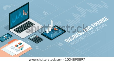 Finance, business and innovative technology: financial apps and services on laptop and mobile devices