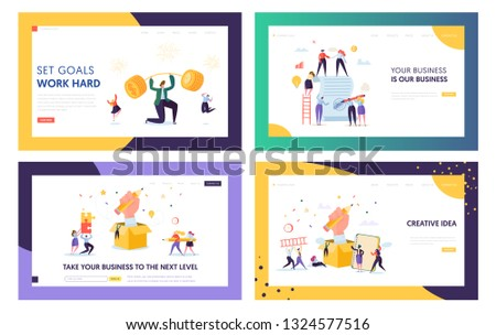 Finance Business Success Character Landing Page Set. Businessman Lift Up Barbell with Coins. Financial Goal Achievement Concept for Website or Web Page. Flat Cartoon Vector Illustration