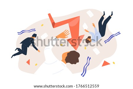 Finance collapse. Team of business people flying surrounded by geometric figure, document and graph vector flat illustration. Colorful man and woman during economic crisis or bankruptcy isolated Stockfoto ©