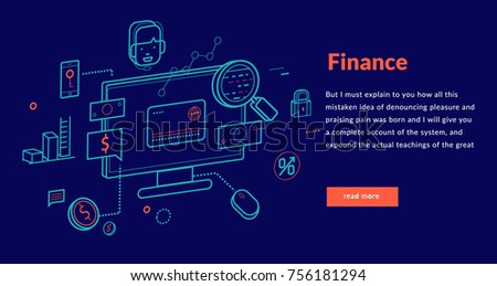 Finance Concept for web page, banner, presentation. Vector illustration