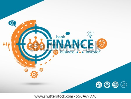 Finance concept on target icon background. Flat illustration. Infographic business for graphic or web design layout