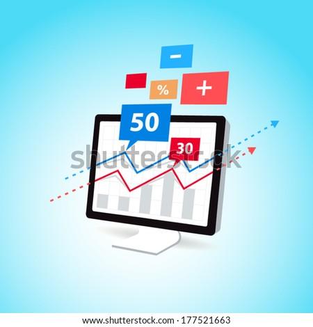 finance diagram display computer pc icon element