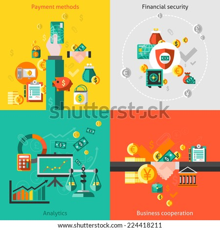 finance flat icons set with