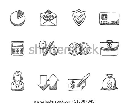 Finance icon series in sketch - stock vector