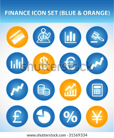 Finance Icon Set (Blue & Orange)