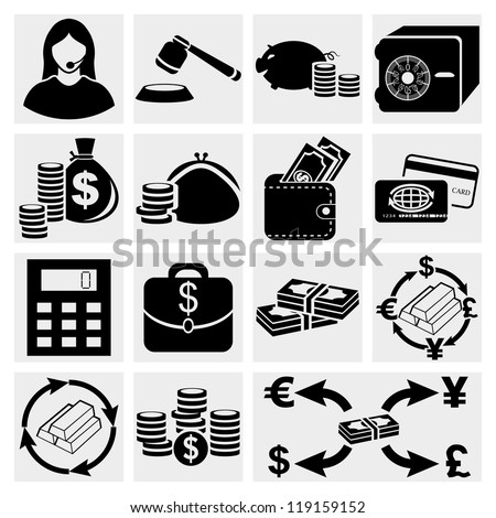 Finance icon set.Money Icon Set, vector