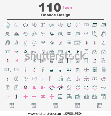 Finance Icon Set to Business Abstract Design isolate on white background. Vector EPS10.
