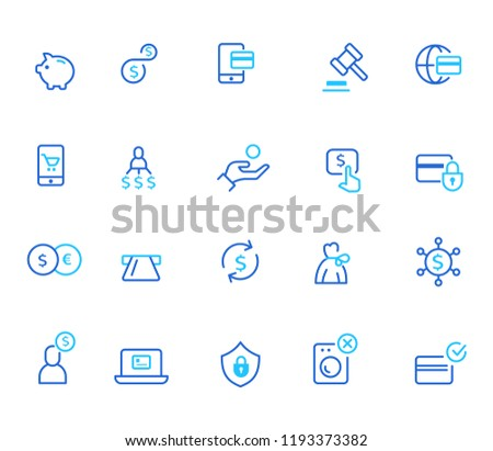 Finance icon, simple line set