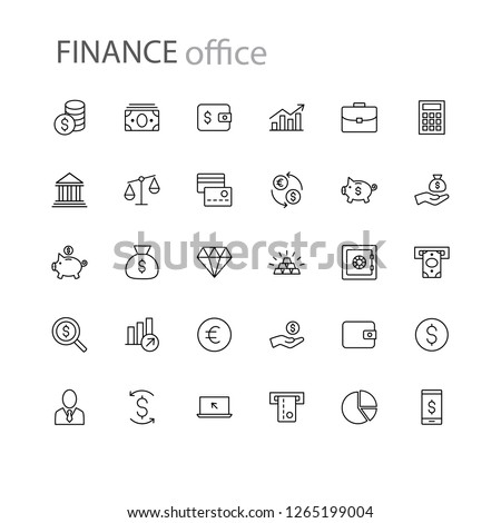 finance icons collection business office money #1265199004