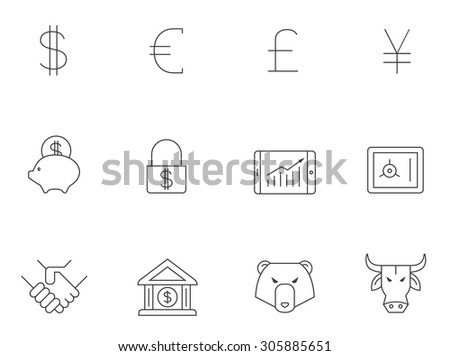 Finance icons in thin outlines. Trading, money.
