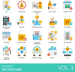 Finance icons including revolving line of credit, loan to value, long term debt, merchant cash advance, microloan, personal guarantee, article of incorporation, EIN certificate, net worth, tax lien.