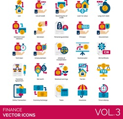 Finance icons including revolving line of credit, loan to value, long term debt, microloan, personal guarantee, principal, secured, unsecured, article of incorporation, business plan, EIN certificate.