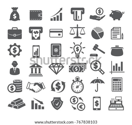 Finance Icons on white background - Shutterstock ID 767838103