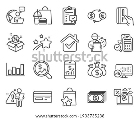 Finance icons set. Included icon as Sale, Payment card, Currency audit signs. Currency exchange, Travel loan, Credit card symbols. Loyalty points, Bill accounting, Check investment. Vector