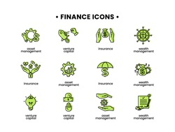 Finance icons set. Vector illustration of asset management, venture capital, insurance, wealth management icons.