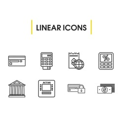 Finance icons set with pos terminal, credit card and online payment elements. Set of finance icons and money protection concept. Editable vector elements for logo app UI design.